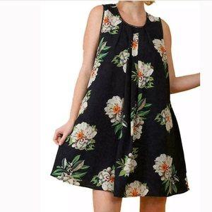 Umgee sleeveless swing dress navy blue floral L